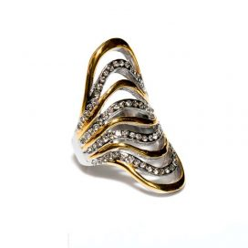 stor zirkon ring golden